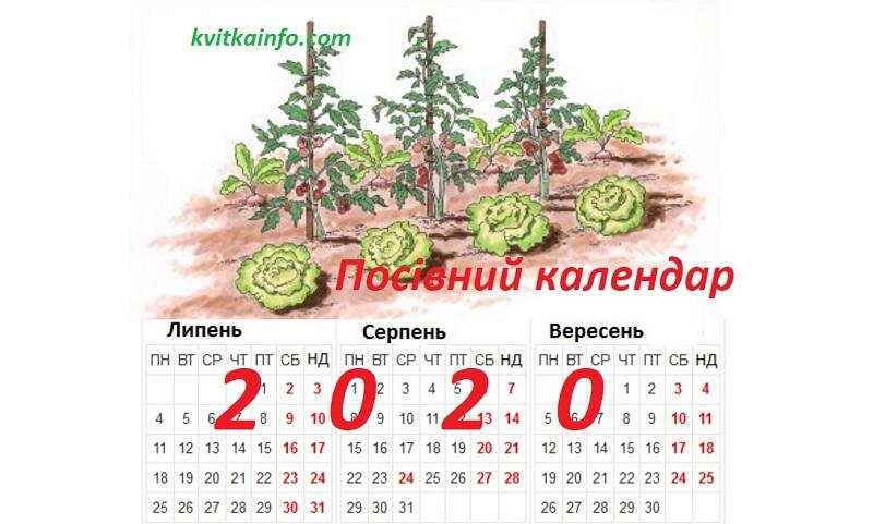 Посівний календар на 2020 рік