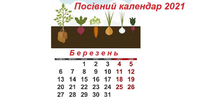 Посівний календар на березень 2021 року